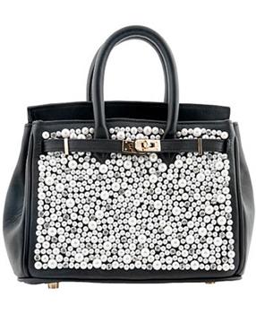 Leah Bliss Mini Uptown Pearl Black Calfskin Handbag