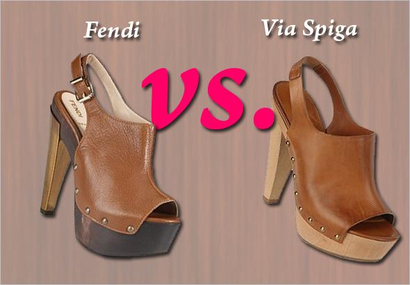 Who did it better? Fendi vs. Via Spiga Open-toed Platform Clogs