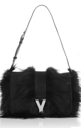 Yves Saint Laurent Fox Fur-Trimmed Chyc Flap mohawk bag