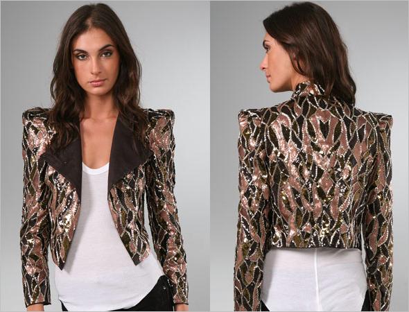 Alice + Olivia Luiza Sequin Embellished Moto Jacket