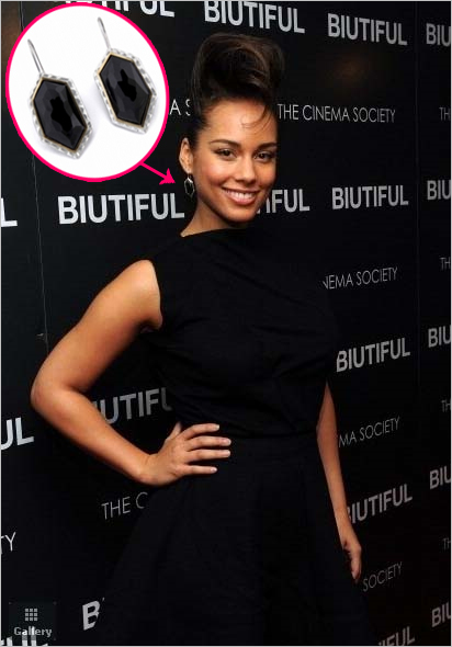 Get her haute baubles: Alicia Keys in Kara Ross Large Nugget Earrings in Black Onyx