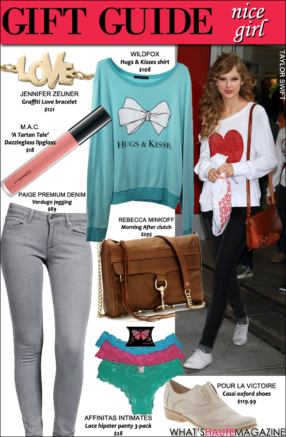 Holiday gift guide for the nice girl on your list Holiday Gifts Taylor Swift MAC Cosmetics Jennifer Zeuner Wildfox Couture Rebecca Minkoff affinitas intimates Pour La Victoire