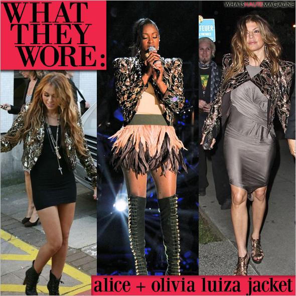 Alice + Olivia Luiza Sequin Embellished Moto Jacket Miley Cyrus Fergie Shontelle