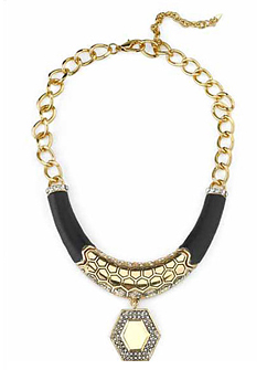 Belle-Noel-Honey-Hexagon-and-Black-Leather-Necklace