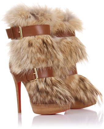 Christian Louboutin Toundra Coyote-Fur Trimmed Suede Ankle Boots