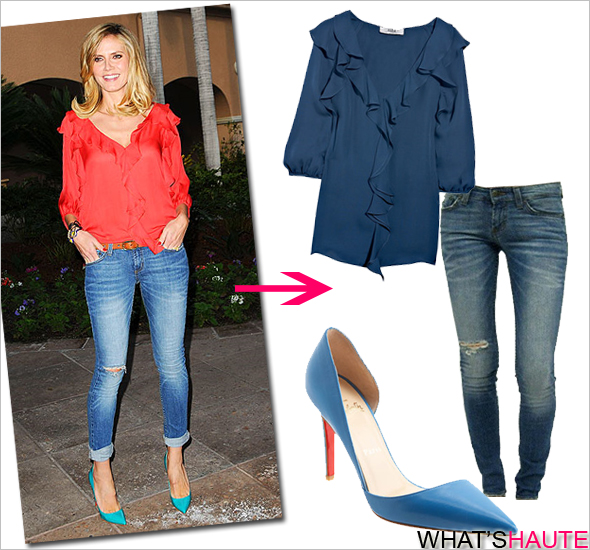 Want to look supermodel chic and effortlessly fab? Steal Heidi Klum's haute look Tibi silk blouse with ruffle detail JET Denim by John Eshaya Hippie Fade Skinny Jeans Christian Louboutin Pigalle Point-Toe Pumps