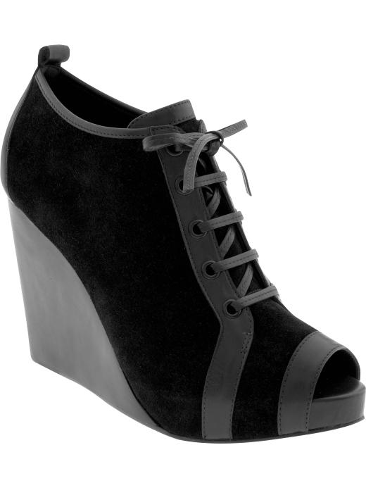 Pierre Hardy for Gap Design Editions peep-toe wedge booties in black suede with leather trim