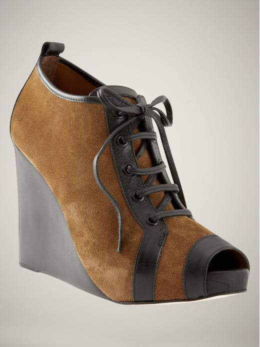 Pierre Hardy for Gap Design Editions peep-toe wedge booties in brown suede with leather trim