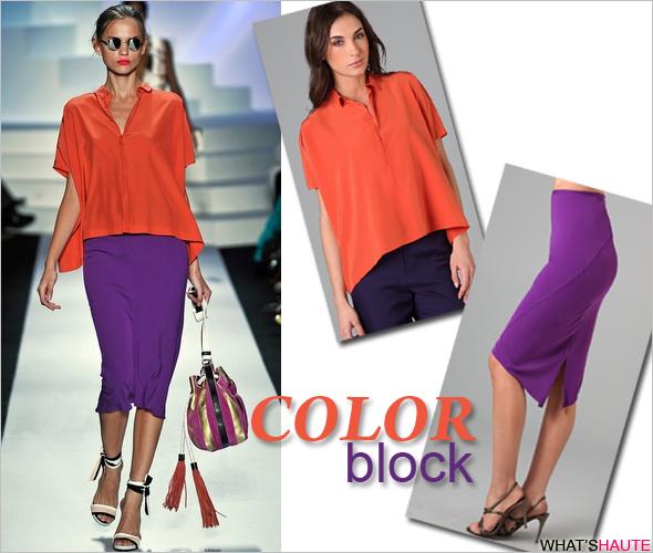 Colorblock Spring trend Diane von Furstenberg Idola Midi Skirt and Eris Blouse