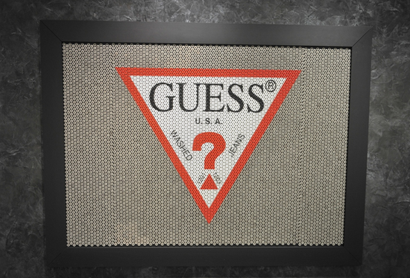 GUESS-flagship-store-opening---7,000-denim-buttons-painted-with-the-GUESS-triangle-logo