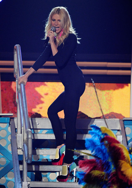 Gwyneth Paltrow Grammys Christian Louboutin Futura nappa leather peep-toe ankle boots multicolor fringe earrings black jumpsuit