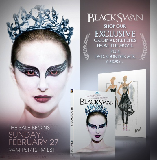 Reproductions of the four original Black Swan costume sketches,