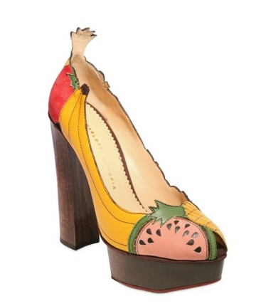 Charlotte-Olympia-Suede-&-Leather-Fruit-Covered-Pumps