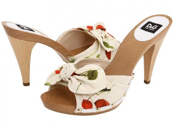 D&G Stampa Cherry print platform slide sandals