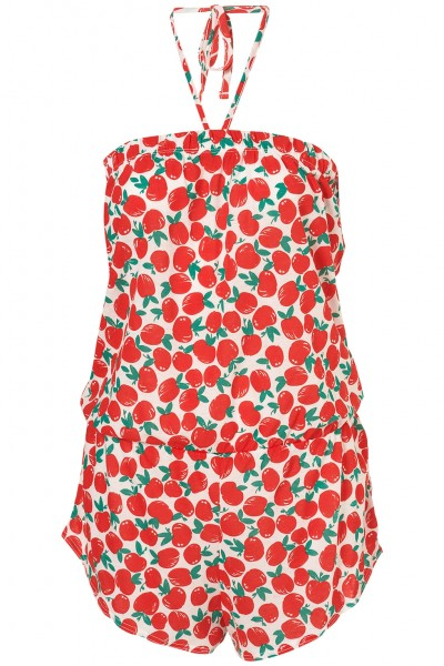 Red Apple Print Playsuit
