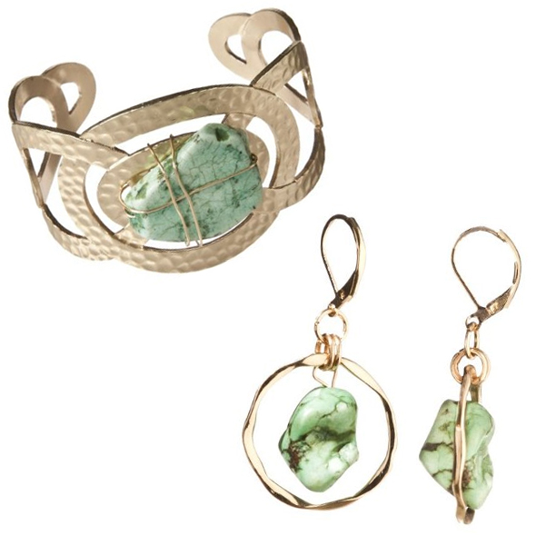 Target-finds-Brown-Stone-Circle-Cuff-Bracelet-and-Circle-Green-Stone-Drop-Earrings