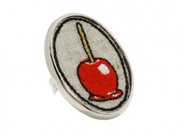 Tarina Tarantino Embroidered Candy Apple Mod Ring