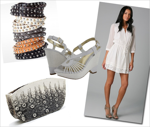 Weekly Shopping and Goodies Linea Pella's double wrap leather studded bracelets Fossati Venice Evening Clutch in Ombre Lizard Charles by Charles David Ticks wedge platform Madison Marcus Spring Tie Waist Dress