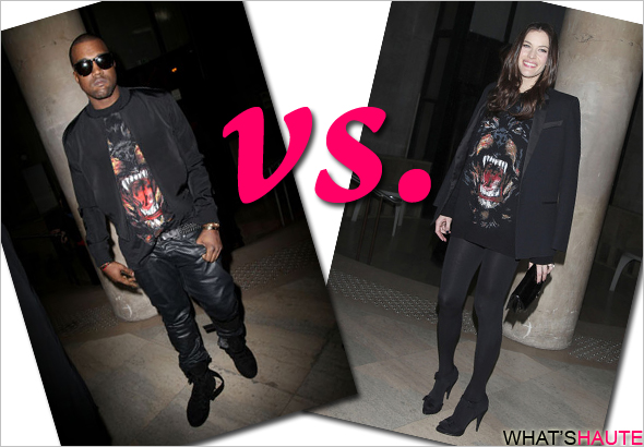 Who rocked it hotter wore it better Kanye West vs. Liv Tyler in Givenchy rottweiler dog shirt