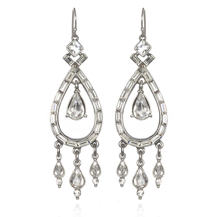 Ben-Amun Crystal Double Teardrop Earrings
