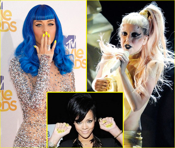 Katy-Perry-Rihanna-Lady-Gaga-yellow-nail-polish