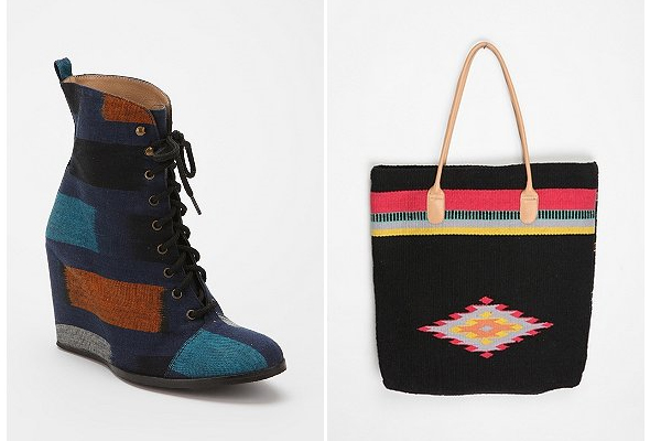 urban outfitters Minimarket-Ikat-Wedge-Boot-Ecote-Blanket-Tote