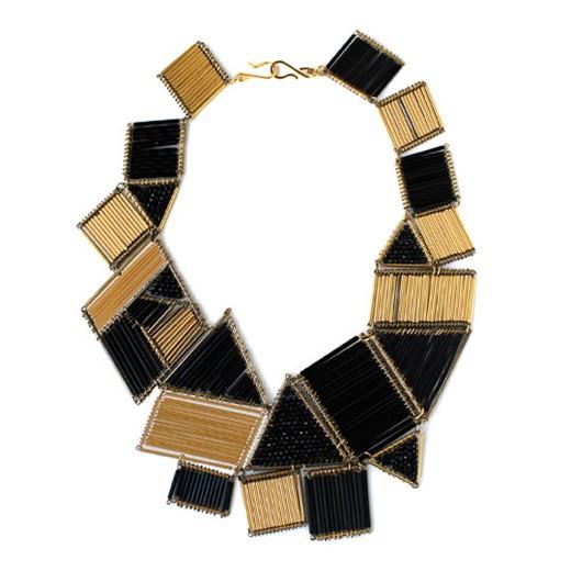 Noir Jewelry Deco-Cubism Shapes Bugle Bead Necklace