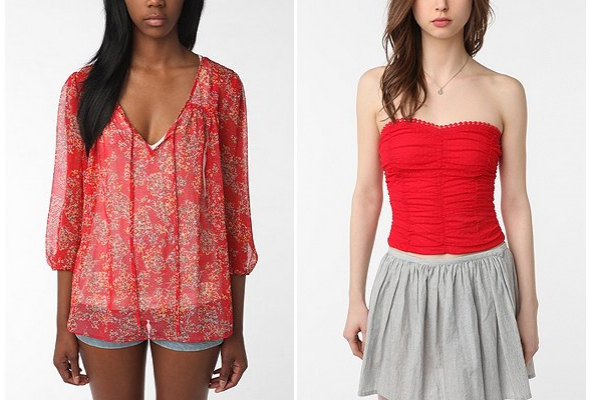 urban outfitters Pins-and-Needles-Feminine-Peasant-Blouse-Pins-and-Needles-Dot-Mesh-Strapless-Top