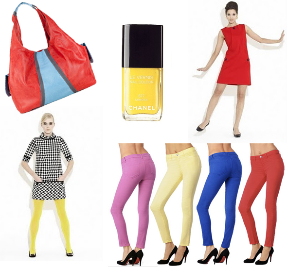 Weekly-shopping-and-goodies-colorblock We love colors See Christian Francis Roth's 60's-inspired frocks, J Brand's candy-colored denim, Chanel Mimosa yellow nail polish and more on Weekly Shopping and Goodies