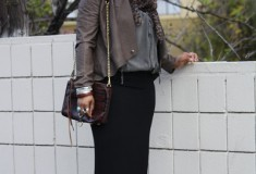My Style: Going Back to Cali - Part II (BB Dakota leather jacket + H&M top and skirt + Michael Kors wedges)