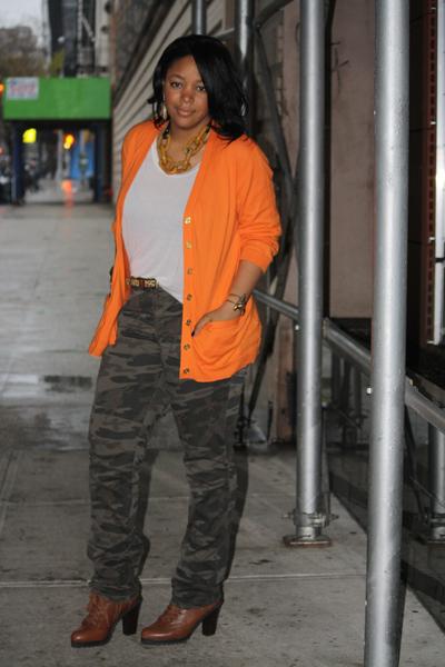 orange-crush camo pants orange cardigan