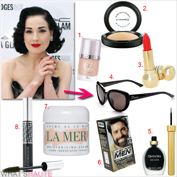 Get her haute beauty look: Dita Von Teese Just For Men hair dye Dior 'Diorshow' mascara Guerlain Divinora eyeliner Dior 'Diorific' lipstick in 'Dolce Vita red' Dior Capture Totale Foundation MAC Mineralize Powder Creme de la Mer face cream Dior or Louis Vuitton sunglasses