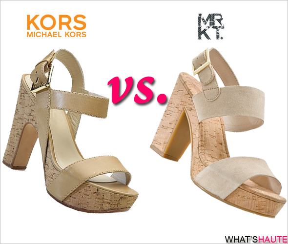 KORS Michael Kors vs. MRKT cork platform sandals