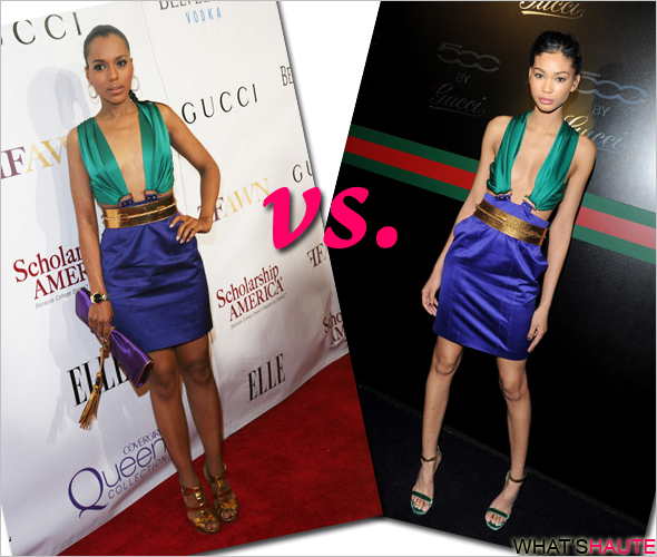 Who-rocked-it-hotter-Kerry-Washington-vs-Chanel-Iman-in a colorblock Gucci Spring '11 dress