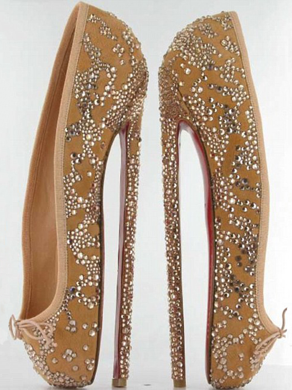 Christian Louboutin crystal-covered nude ballet flats with eight inch heel
