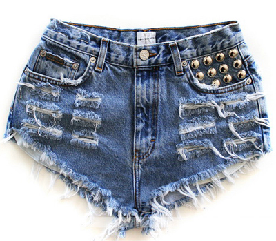 16 Sweet and Sexy Summer Shorts RUNWAYDREAMZ Handmade Vintage Hip Pocket Studded Denim Shorts