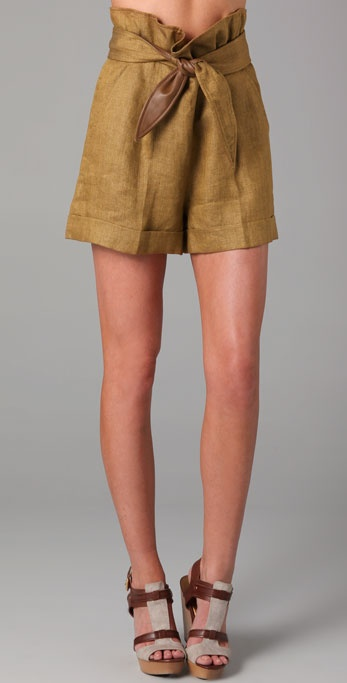 16 Sweet and Sexy Summer Shorts Tibi-Herringbone-Shorts-with-Leather