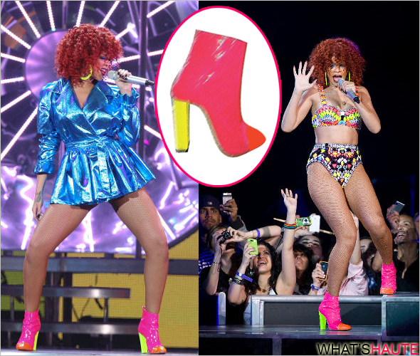 What she wore - Rihanna in Max Kibardin custom patent color-block ankle boots blue metallic trench coat loud tour