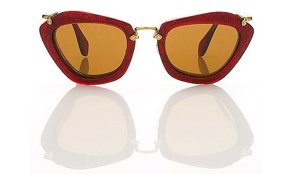 Miu-Miu-1940's-film-noir-inspired-sunglasses-for-Fall-red-rimmed