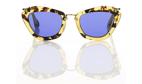 Miu-Miu-1940's-film-noir-inspired-sunglasses-for-Fall-tortoise-rimmed-blue-lens