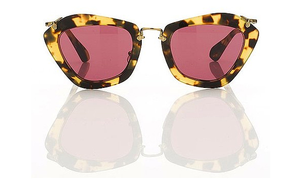 Miu-Miu-1940's-film-noir-inspired-sunglasses-for-Fall-tortoise-rimmed-rose-lens