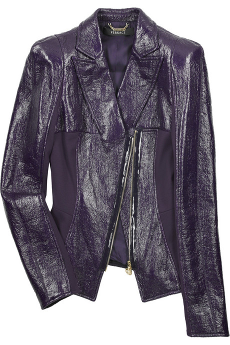 Versace Purple Crinkled Leather Jacket