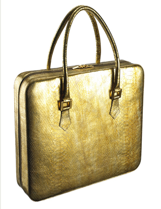 Violet May KYDD Gold Python laptop bag