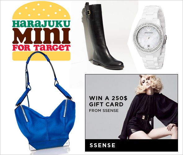 Win a $250 Giftcard from SSENSE, see the 2012 Resort handbag collection by Alexander Wang Chloe Black Riding Boots hot white summer watches and Harajuku Mini for Target by Gwen Stefani