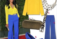 Get her haute look: Garcelle Beauvais' colorblock style at the premiere of