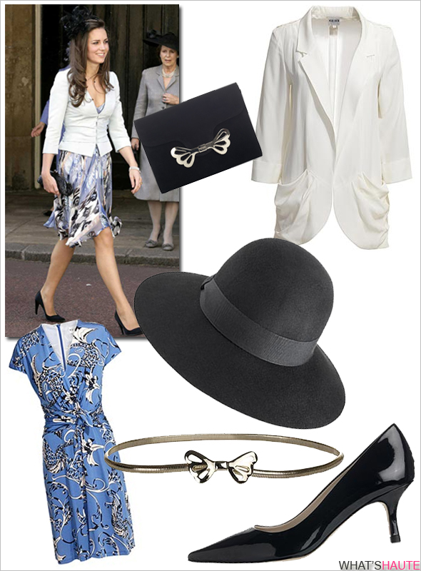 Kate-Middleton-style-Reiss-Fall-2011 Edie Wide Brim Hat Sammie Floral Print dress, Polo blue Chrisie Draped Jacket, cream Cassidy Butterfly and Snake Chain Belt, butterfly clasp clutch gold Jasmine Kitten Heel Court Shoes, Midnight