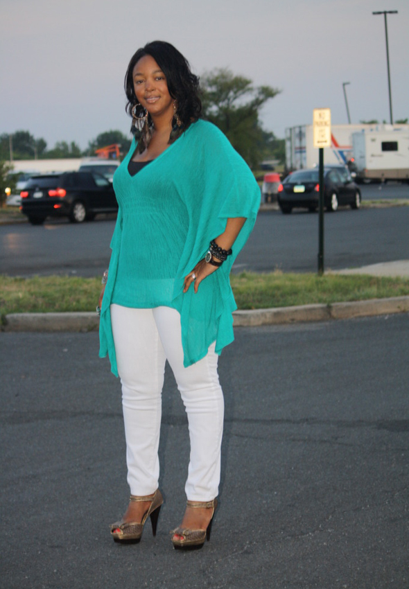 My-style-Twelfth-Street-by-Cynthia-Vincent-batwing-style-tunic-top-white-James-Jeans-Max-Studio-platforms-peacock-feather-earrings-1