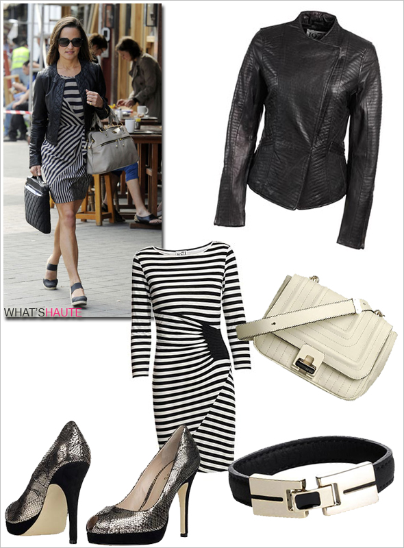 Pippa-Middleton-style-Reiss-Fall-2011 Valentine Striped Dress Nicolo Leather and Metal Clasp Bracelet Kensington Quilted Mini Crossbody Bag Eva Platform Peep Toe Shoes gold Curtis Fitted Leather Jacket Whistles Francesca Quilted Black Leather Jacket BCBGMAXAZRIA Striped Silk Shift Dress Anouka Mid Espadrille Black Knomo laptop case