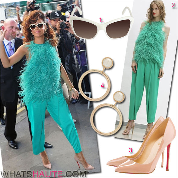 Rihanna in Antonio Berardi 2012 resort turquoise fringe top pants Christian Louboutin Pigalle pumps Linda Farrow Luxe white cat eye cream colored snakeskin sunglasses pearl gold hoop earrings at London launch of Reb'l Fleur fragrance