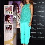 Rihanna launches her debut fragrance Reb'l Fleur at House of Fraser on August 19, 2011 in London, England antonio berardi 2012 resort turquoise fringe top pants christian louboutin pigalle pumps nude pink pearl gold hoop earrings chanel bracelet